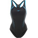 speedo Fit Laneback Swimsuit Women Black/Oxid Grey/Winsdor Blue